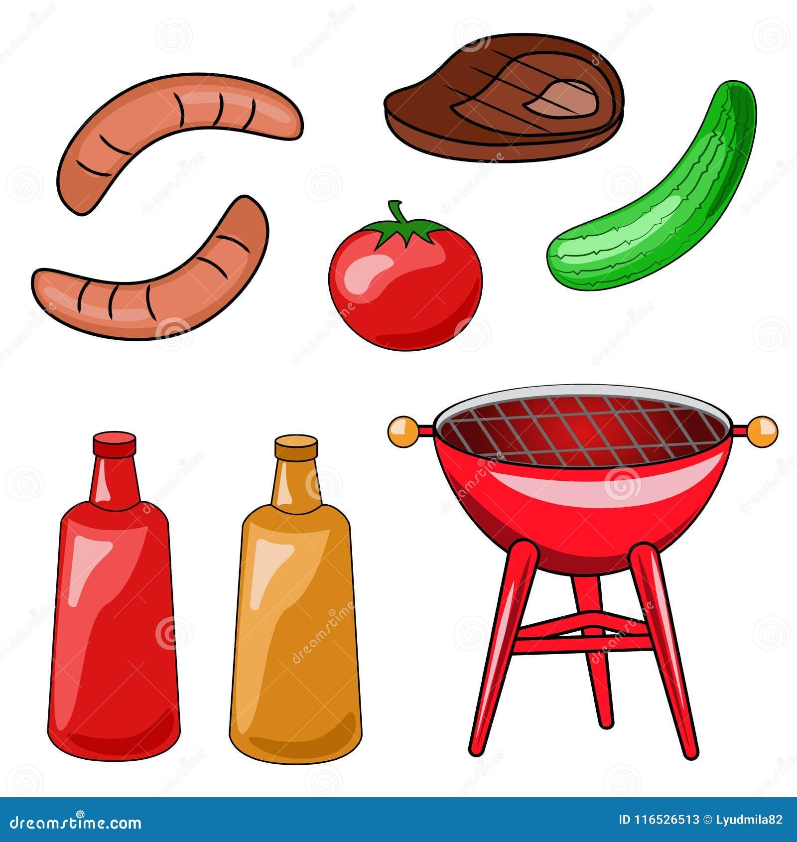 Set ikony grill Wektorowa ilustracja opieczenie, s