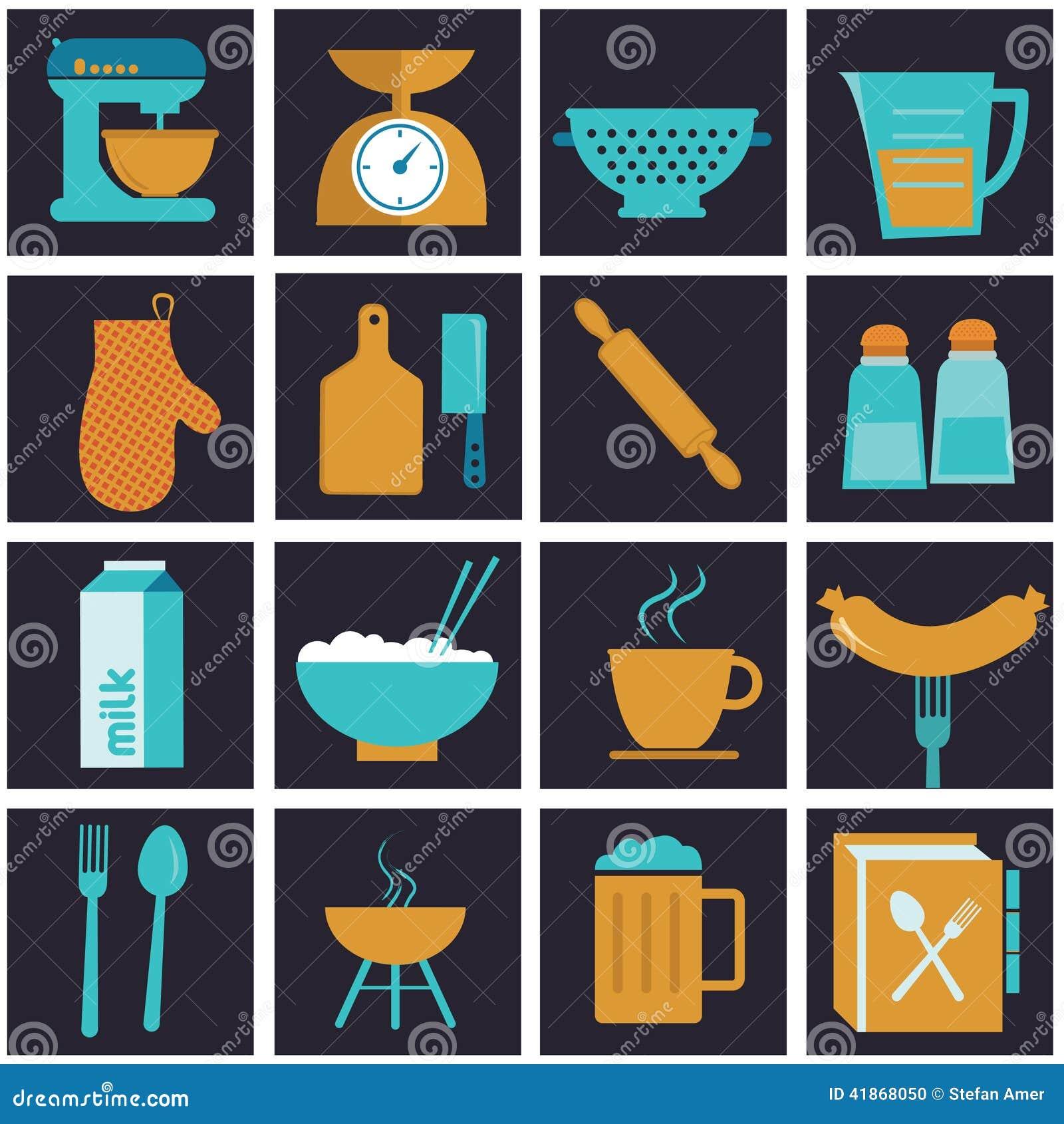 Set ikony kuchenny wyposażenie, crockery i kucharz,