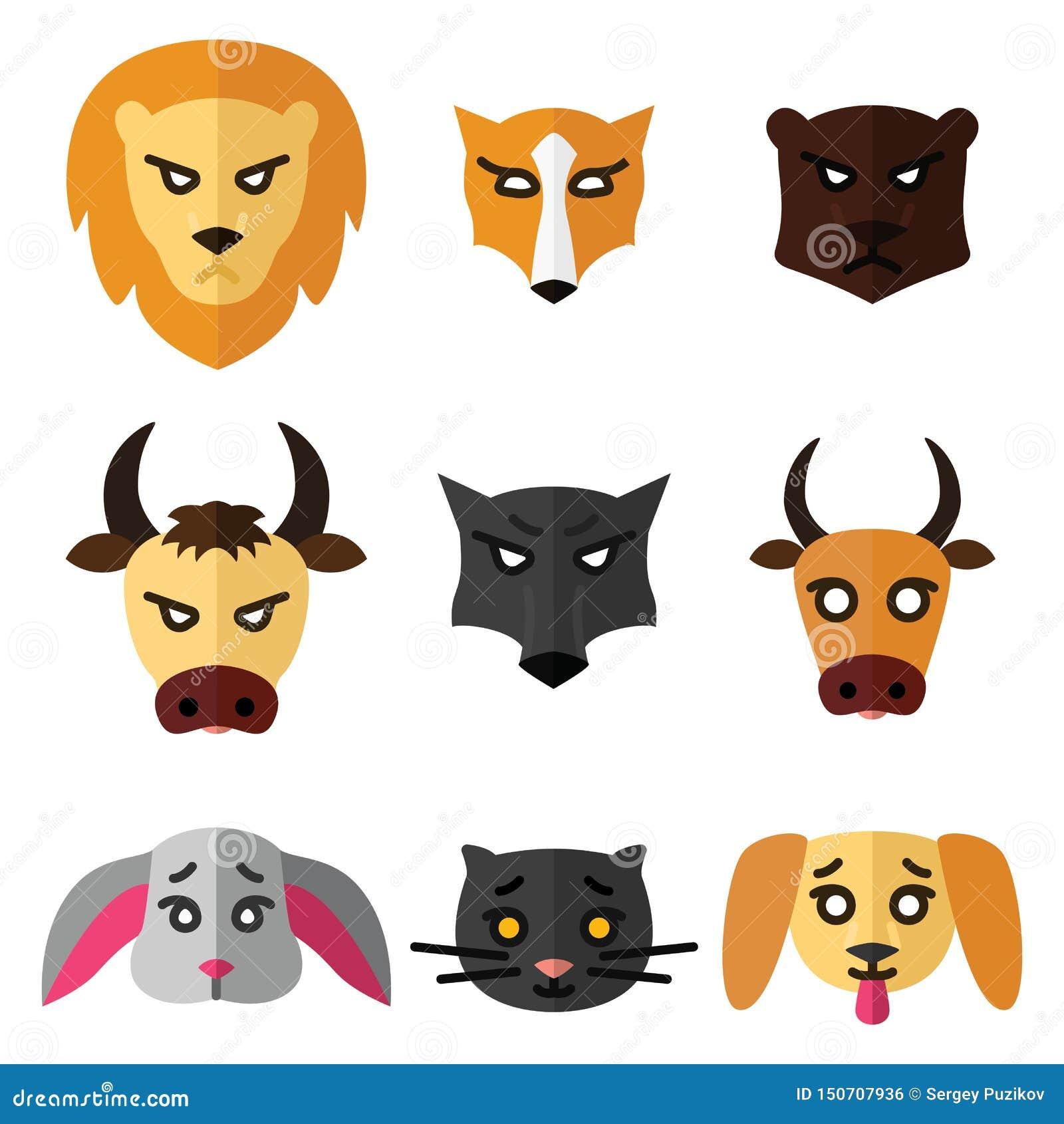 Set ikony lub logo z domowej, dzikiej i zwierząt gospodarskich Wektorową ilustracją w mieszkanie stylu,