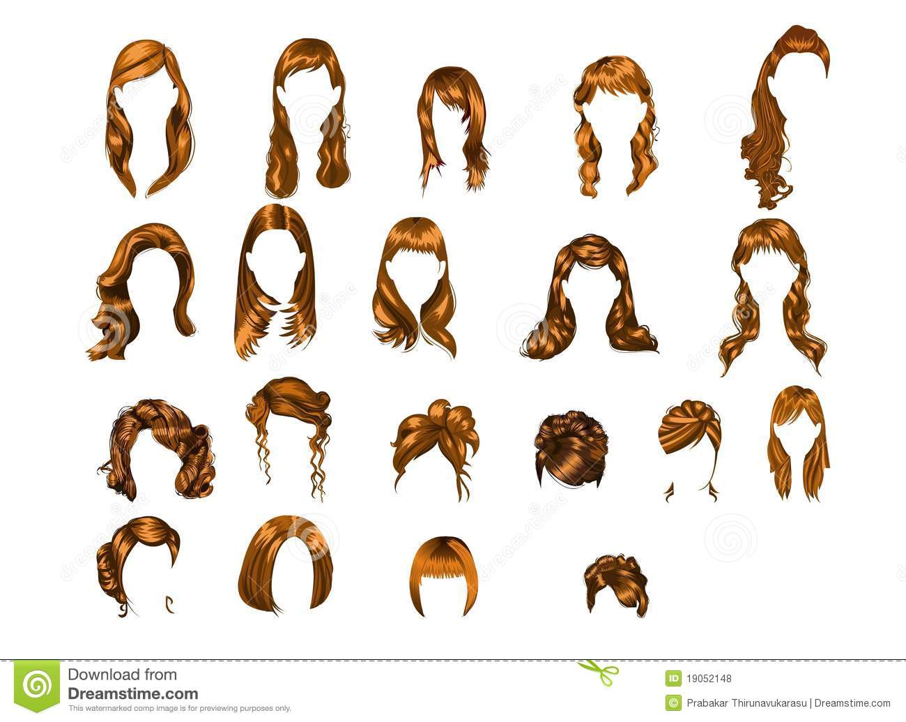 Set Of Illustrated Hairstyles Stock Illustration Image