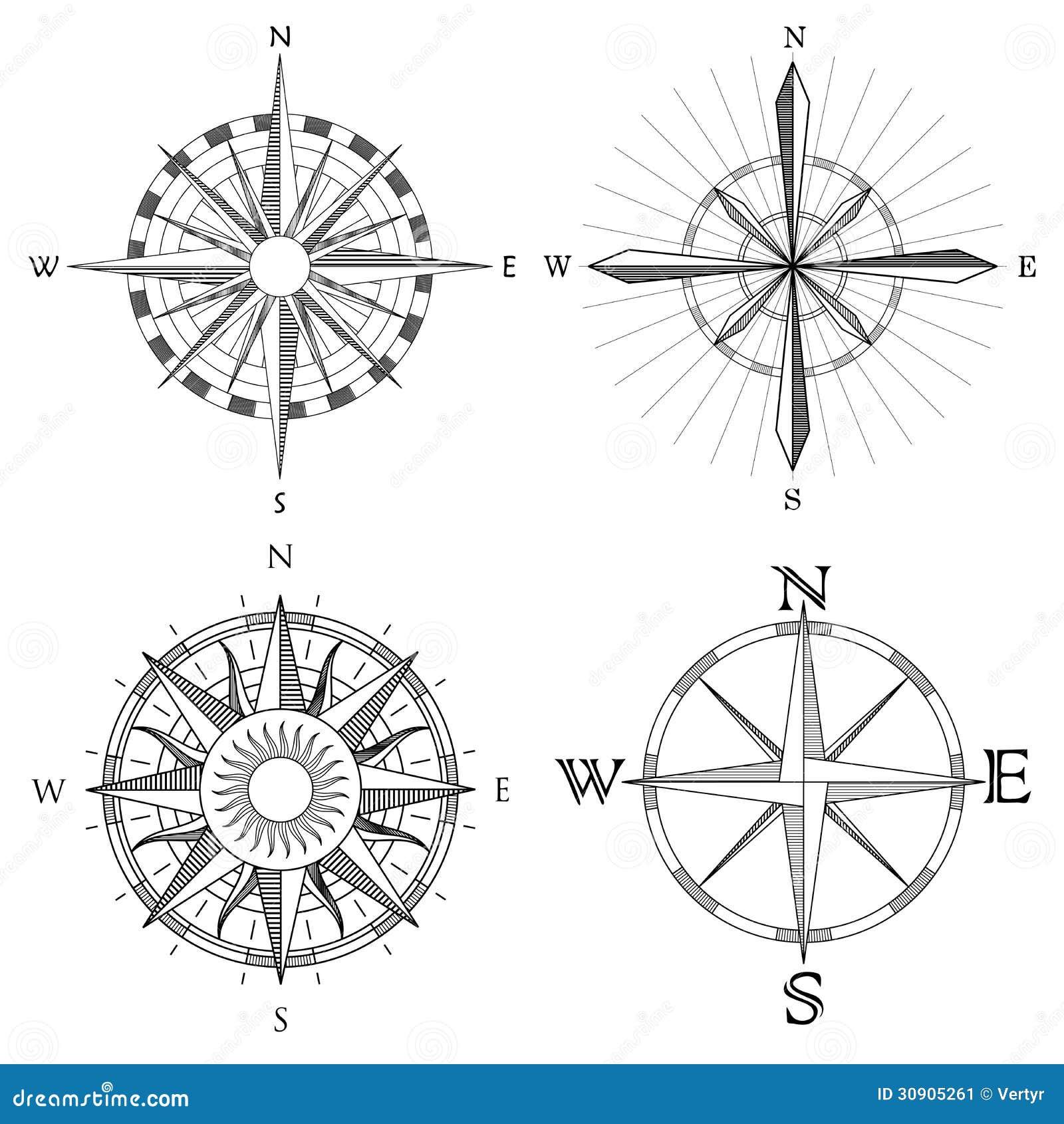 Set Illustration Of Artistic Compass. Stock Vector