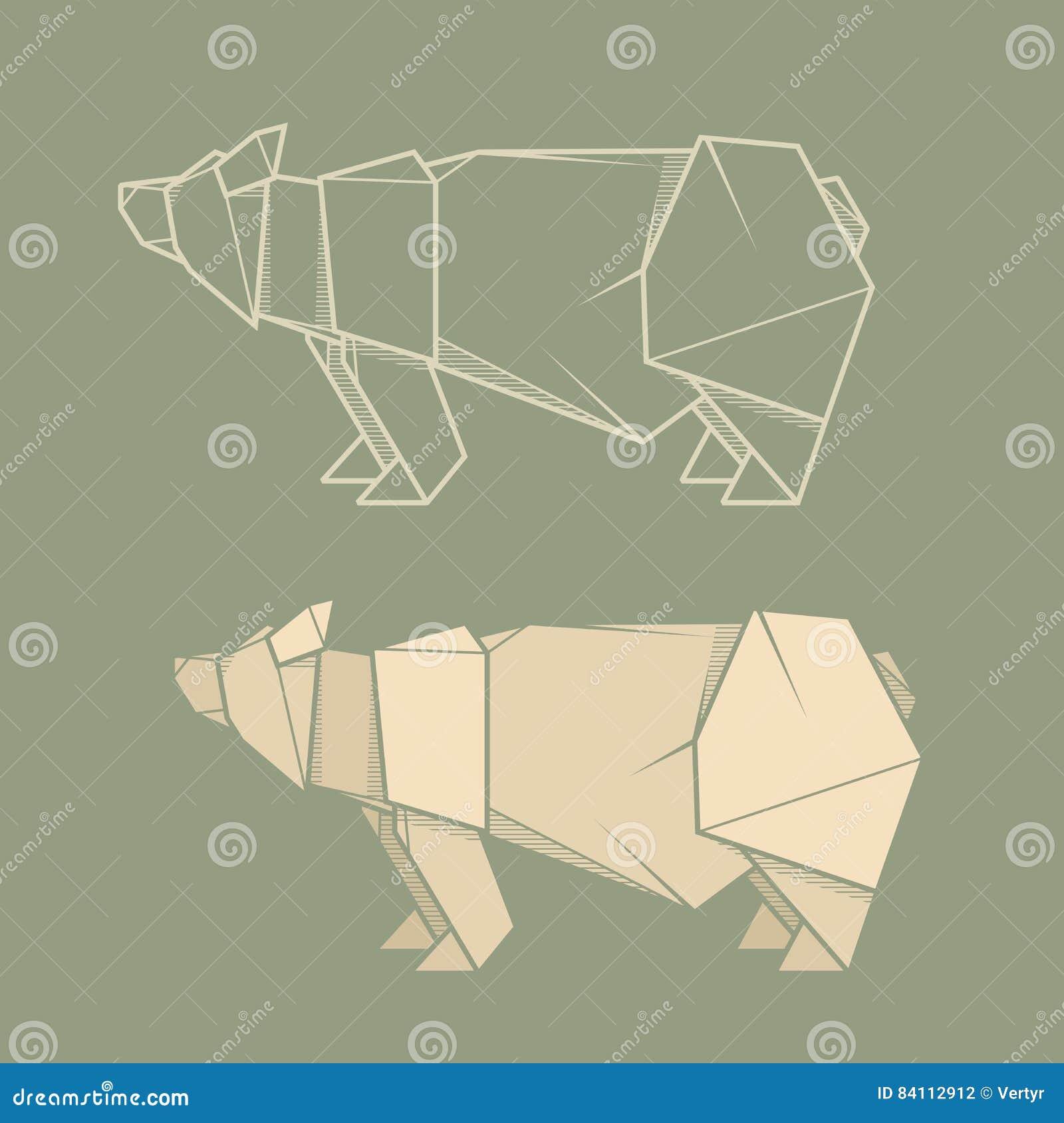 Brilliant Set Illustration Paper Origami Of Bear Stock Vector Illustration Wiring 101 Olytiaxxcnl