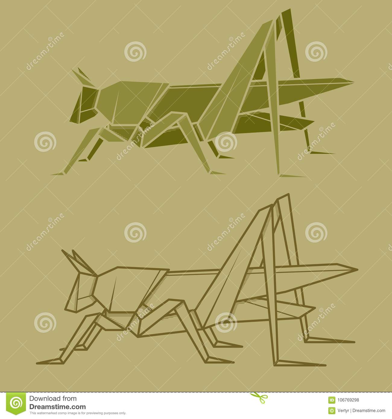 Set Illustration Paper Origami Of Grasshopper Stock Vector