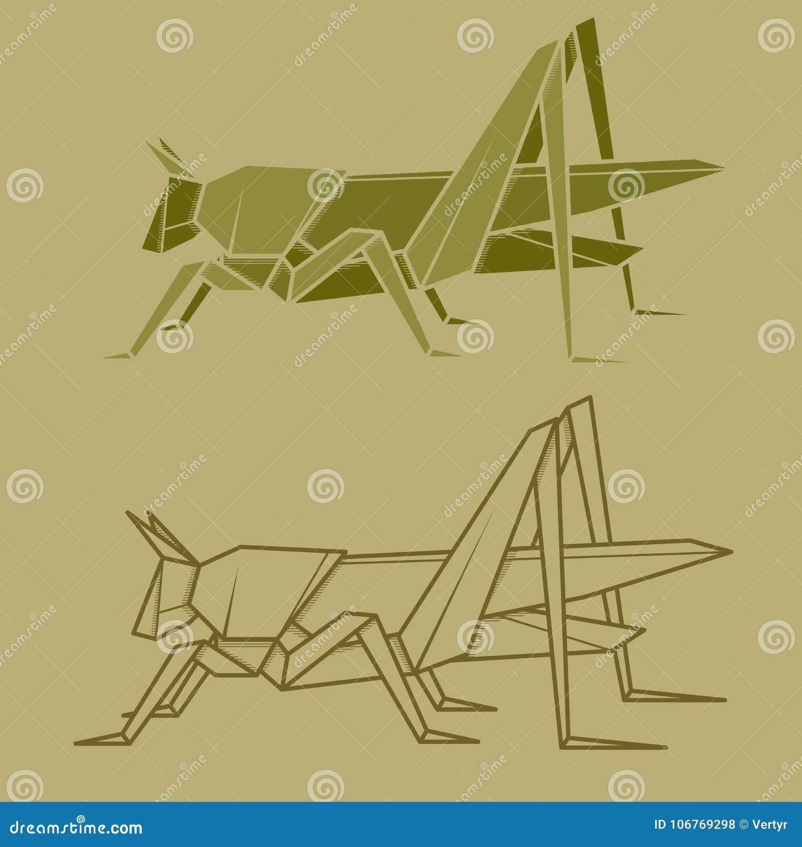 Set Illustration Paper Origami Of Grasshopper Stock Vector
