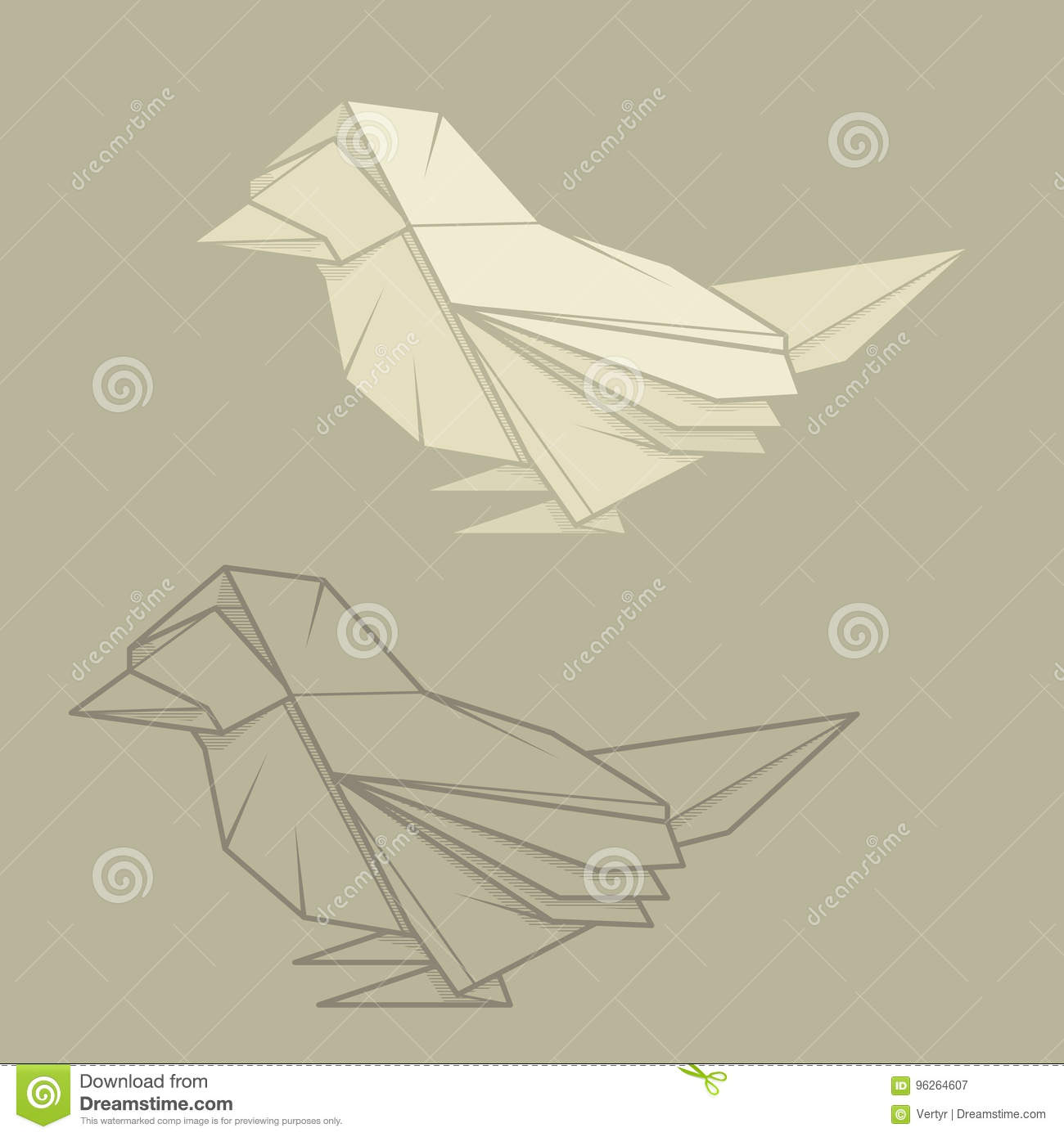 Set Illustration Paper Origami Of Sparrow
