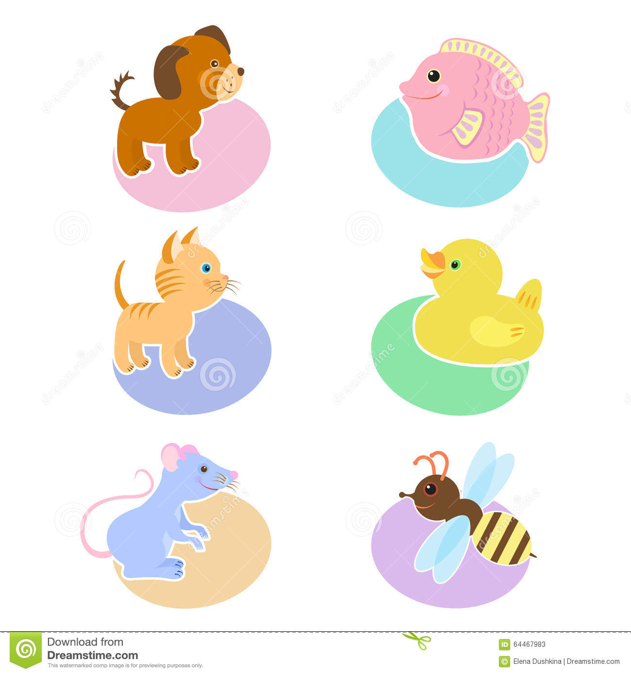 set of illustrations with animals dog fish cat duck
