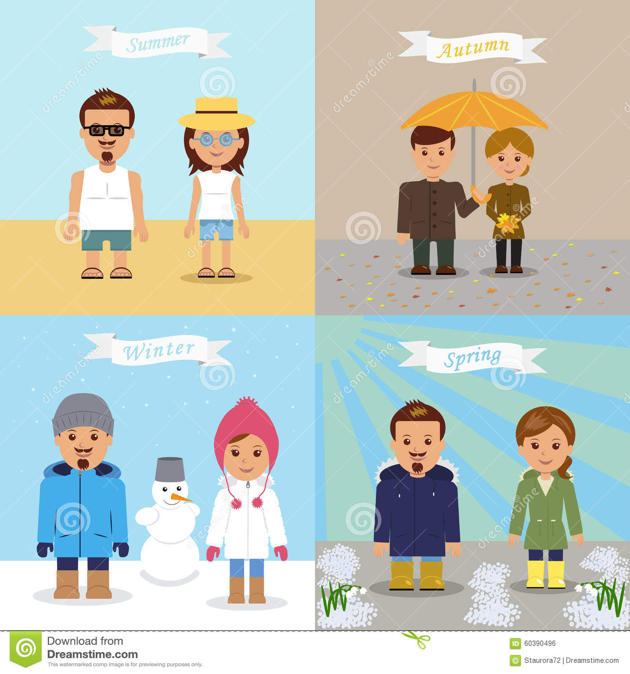 A Set Of Illustrations Of Different Seasons Stock Vector