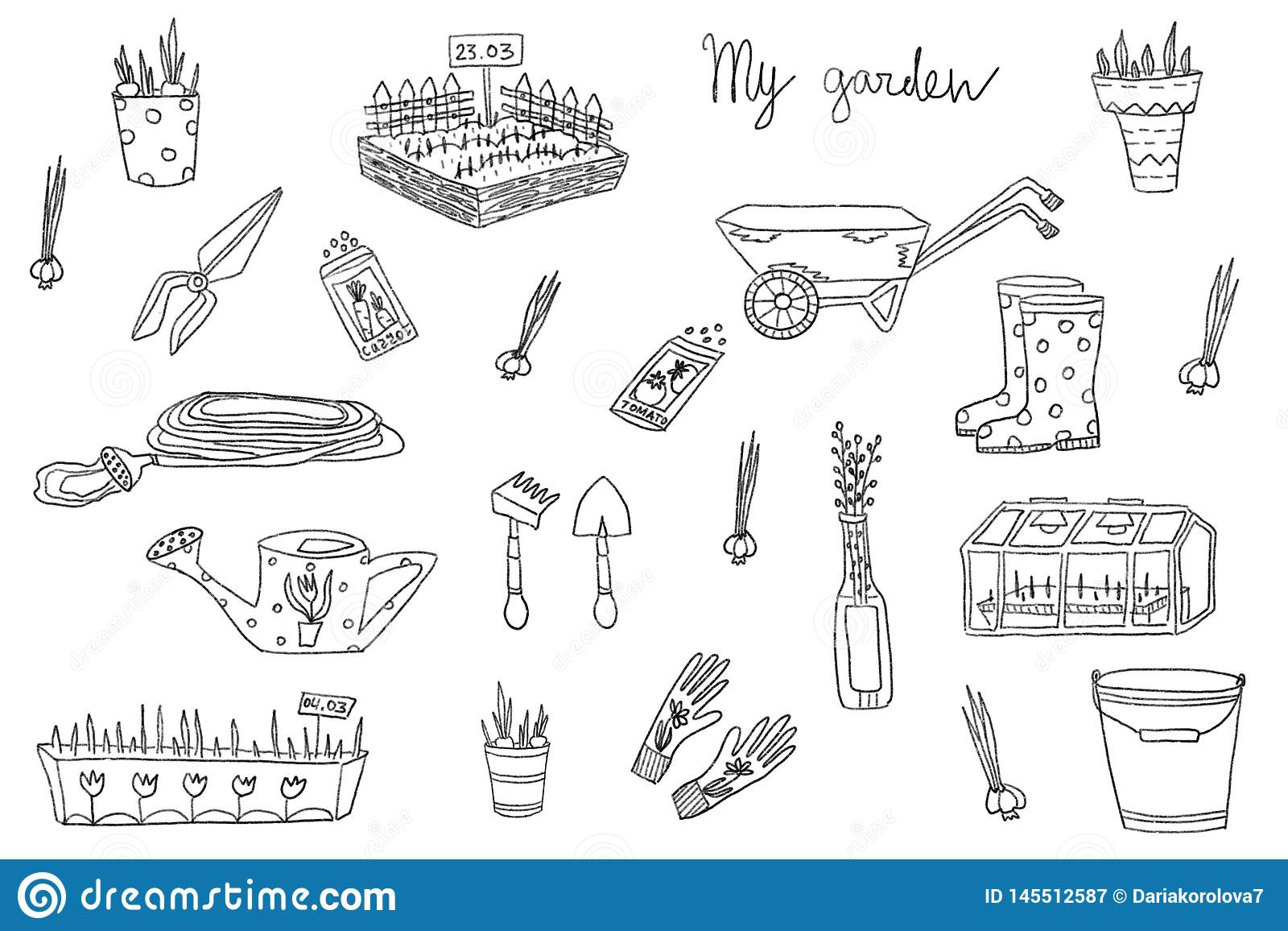 Set Illustrations Of Garden Tool Kit Hand Drawn Stock