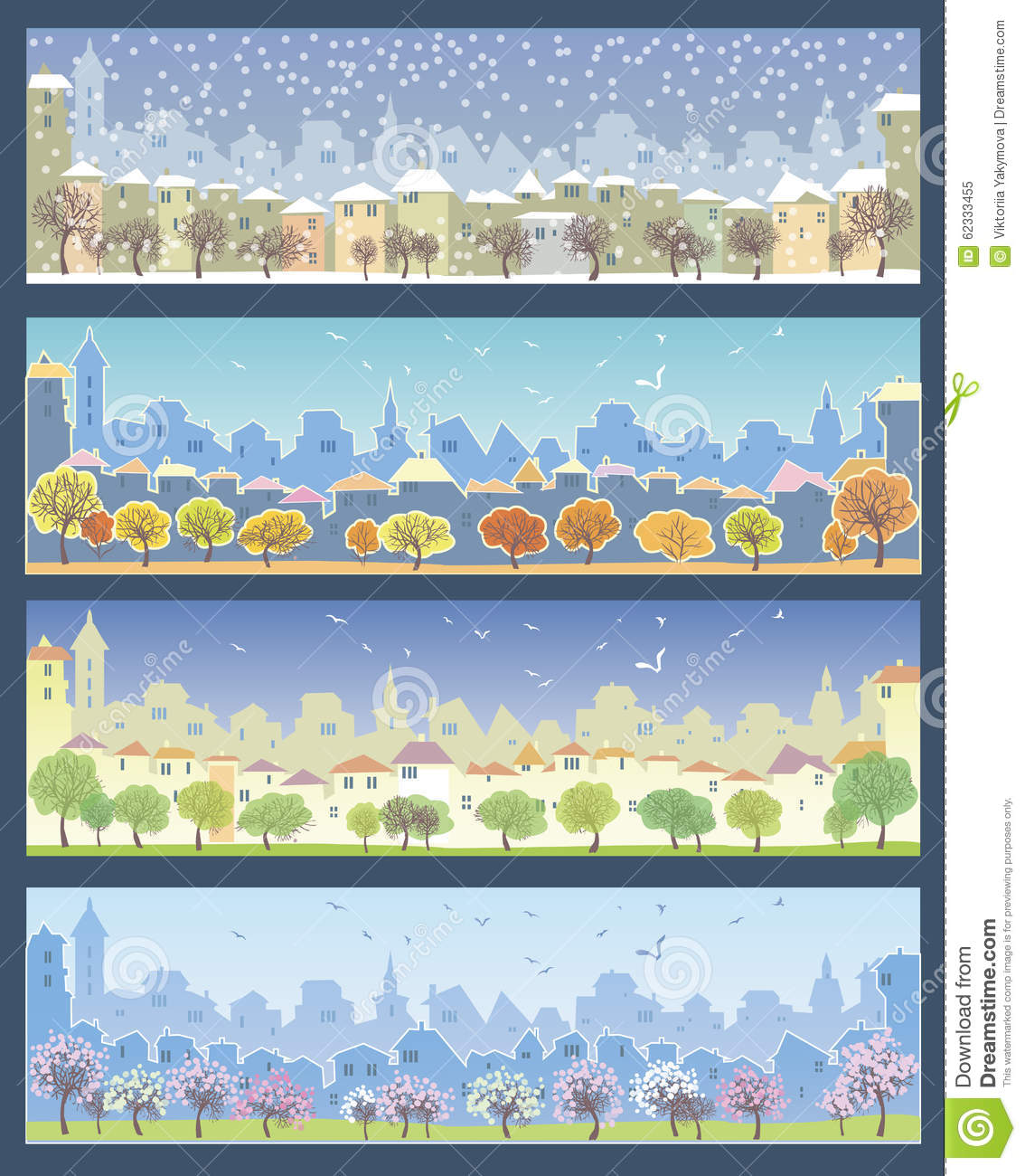 Set of illustrations with urban landscapes stock vector image 62333455 - Autumn plowing time all set for winter ...