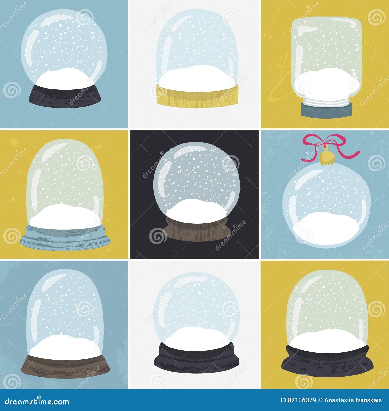 Set 9 ilustracj z ręka rysującą śnieżną kulą ziemską