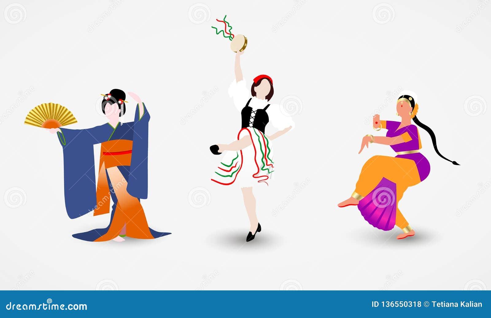 Set ilustracje kobiety różne rasy tanczy ludowych tanów ich kraje ubierał w krajowych kostiumach
