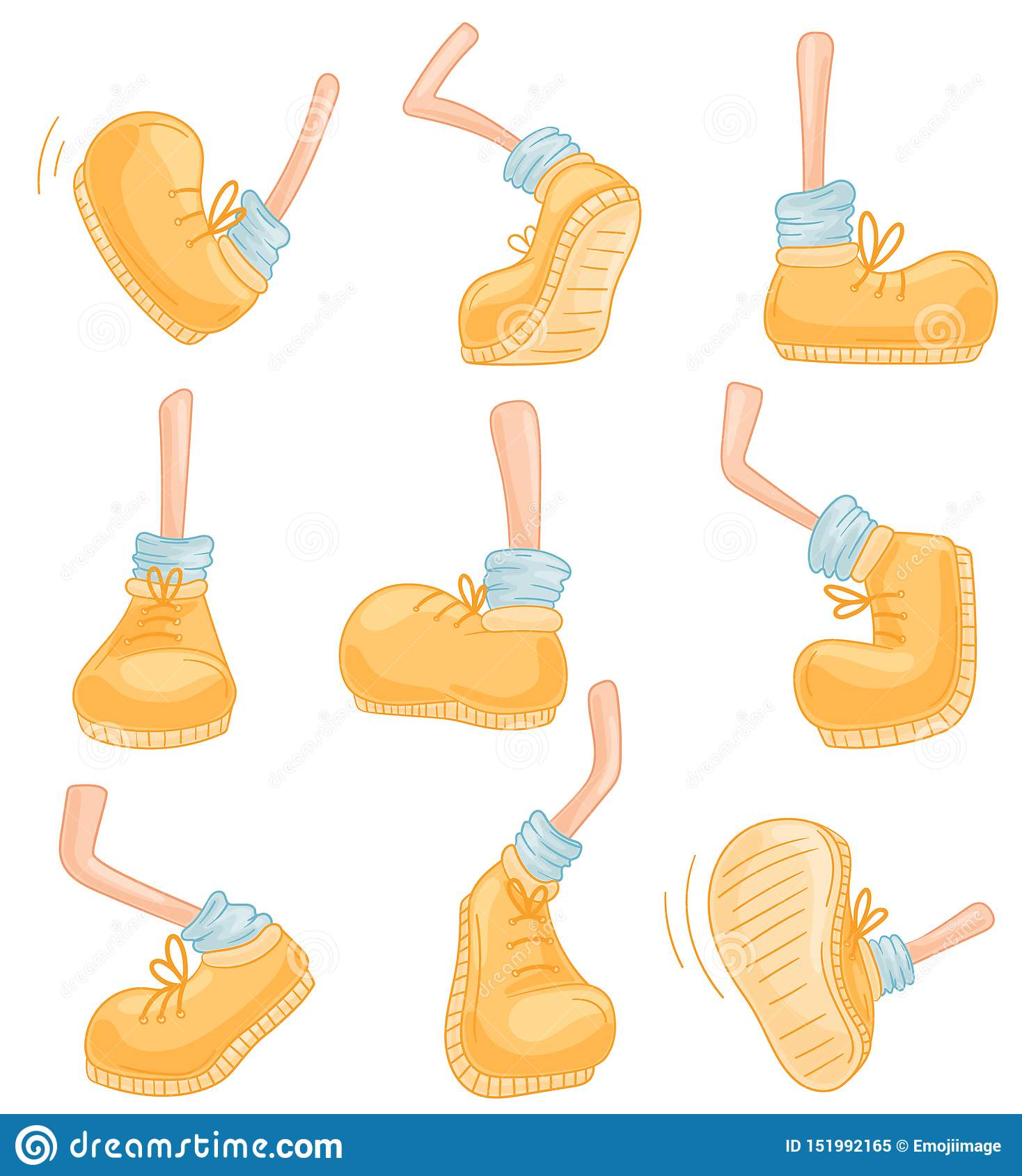 Set of images of legs in different poses. Vector illustration on white background.
