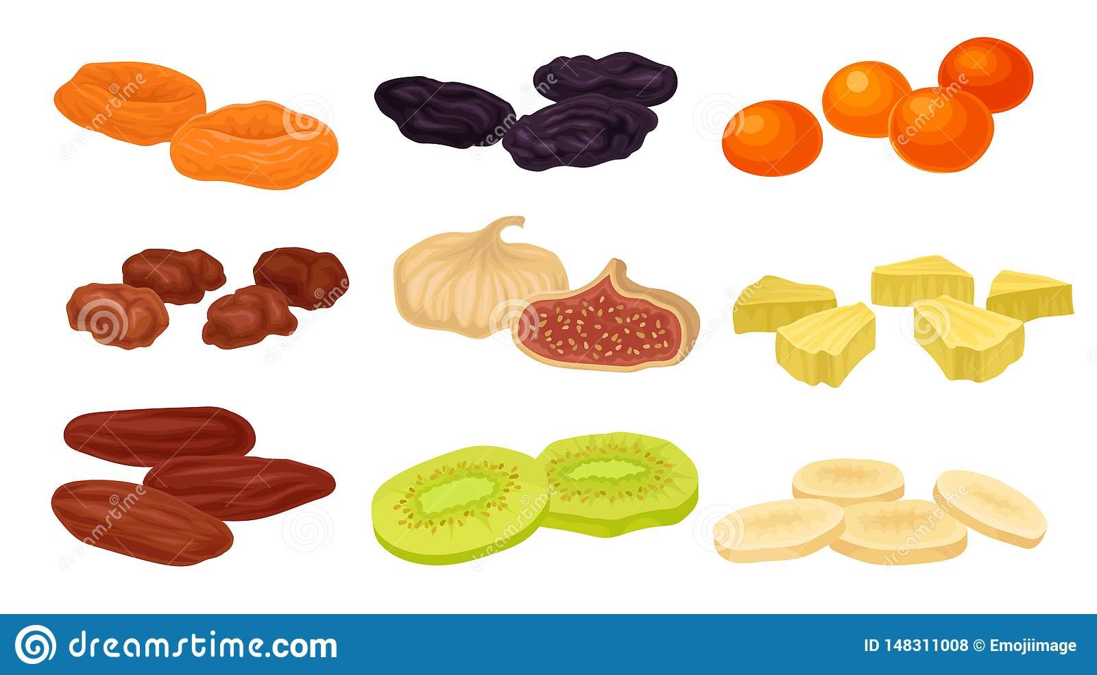 Set of images of various dried fruits. Vector illustration on white background.
