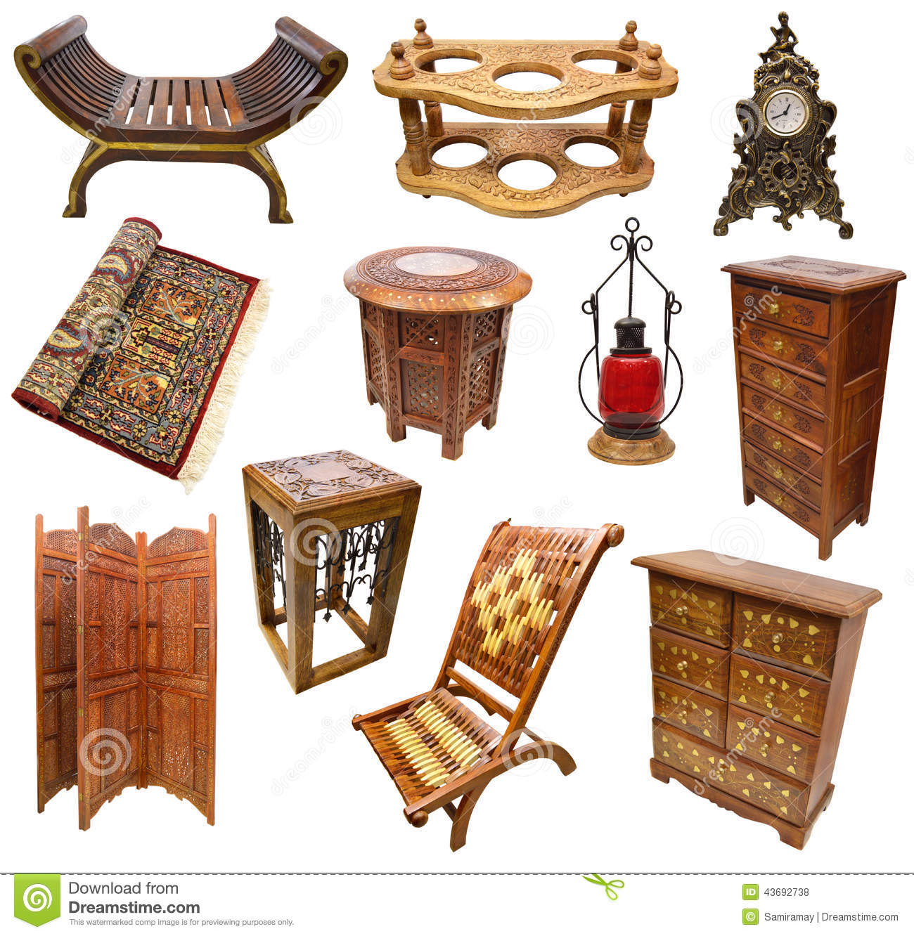 Set with indian interior objects stock photo image 43692738 for Indian furniture