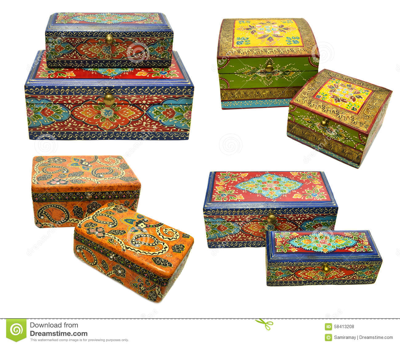 Box Culture : Set with indian ornamental boxes stock photo image