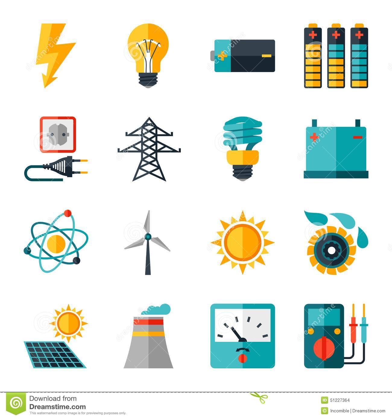 Set Of Industry Power Icons In Flat Design Style Stock