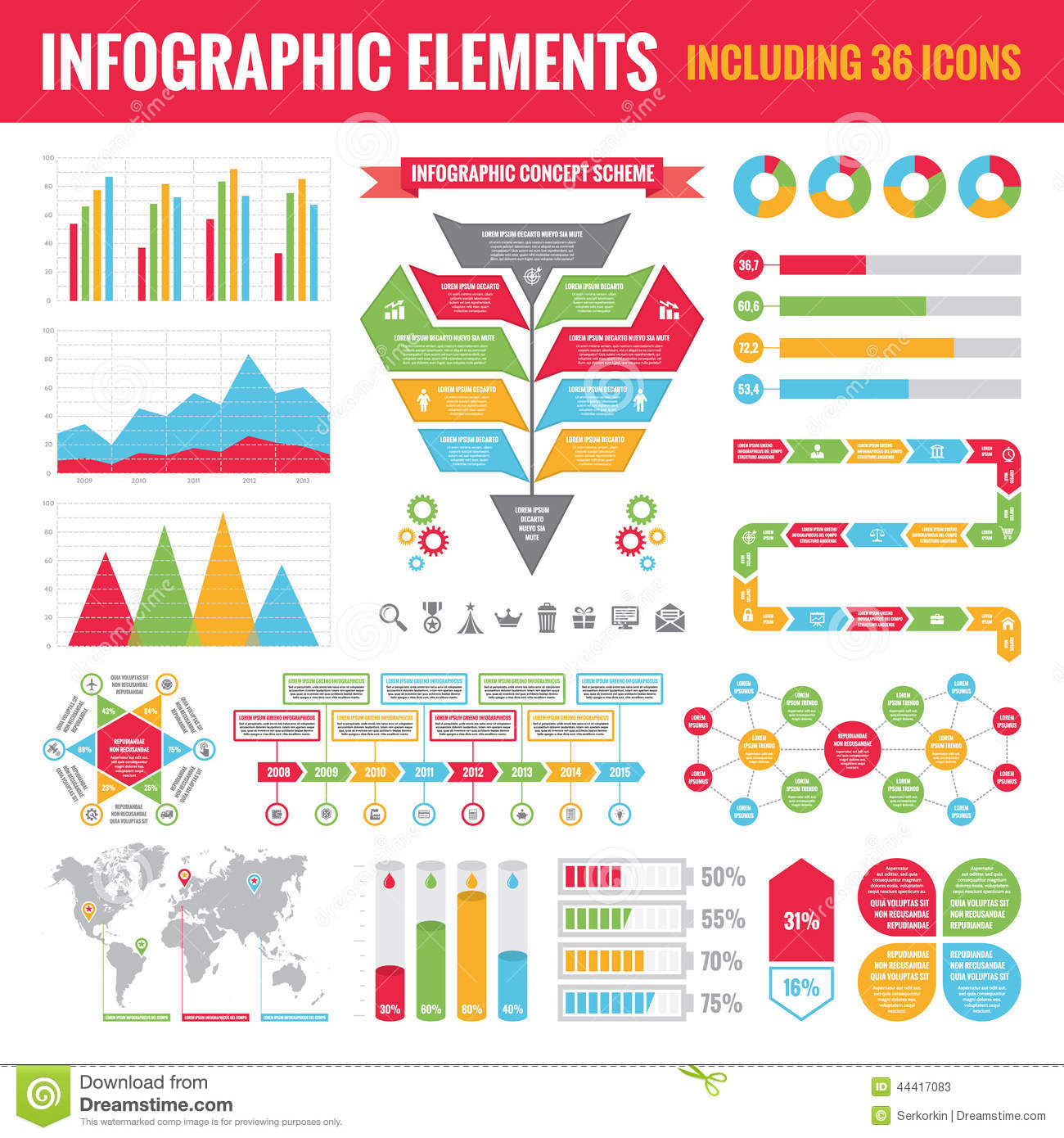 Set of Infographic Elements (including 36 icons) - Vector Concept Illustration