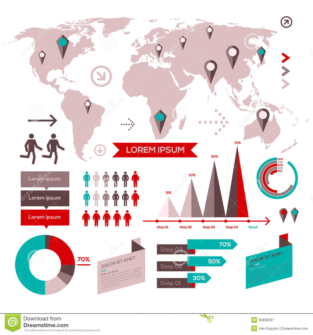 Set of infographic elements with world map stock vector set of infographic elements with world map gumiabroncs Image collections