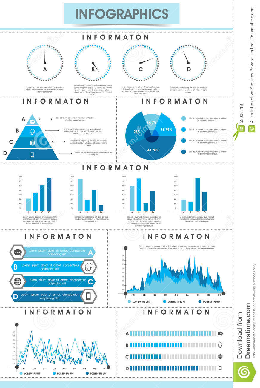 set of infographic elements for your business reports  stock photo