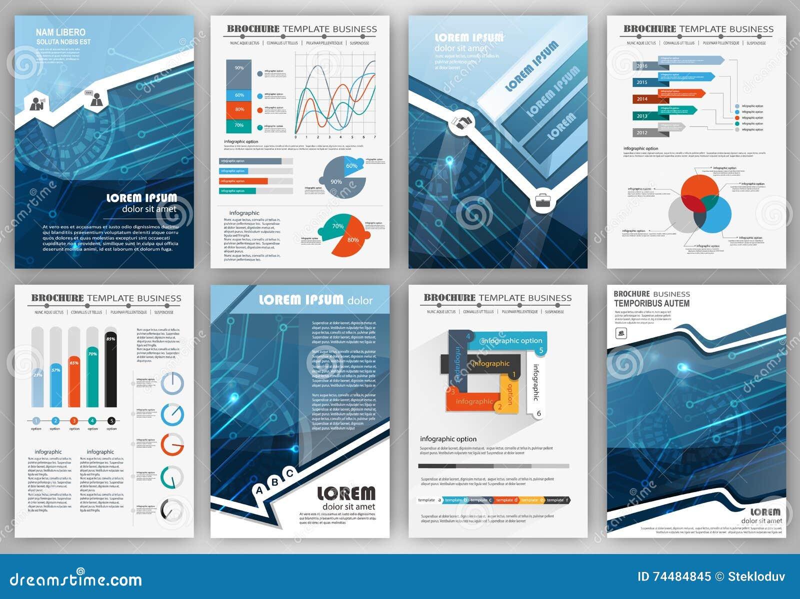 Set Of Infographic Presentation Templates Business Brochures Stock