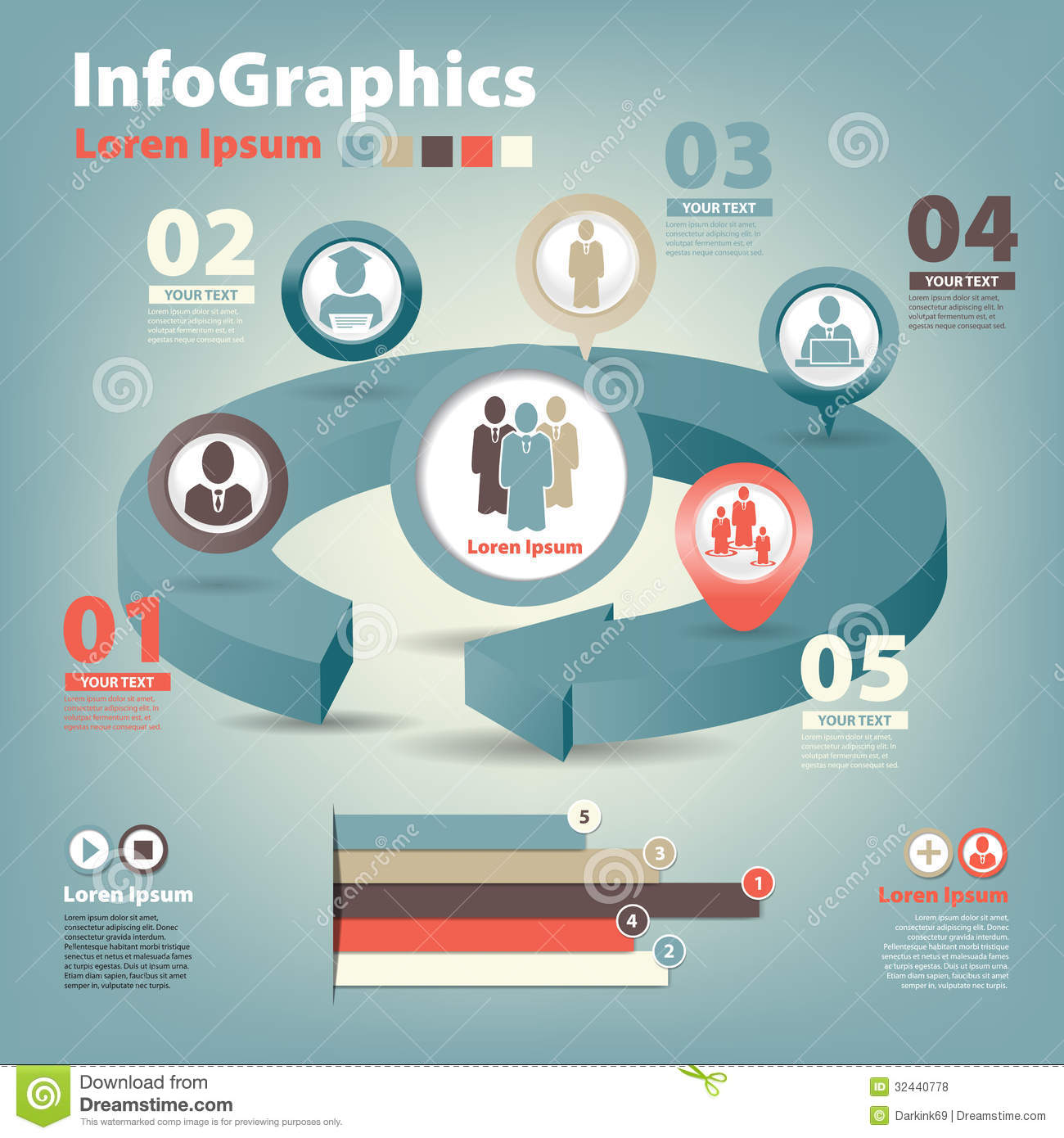 Set Infographic On Teamwork In Business Stock Vector ...
