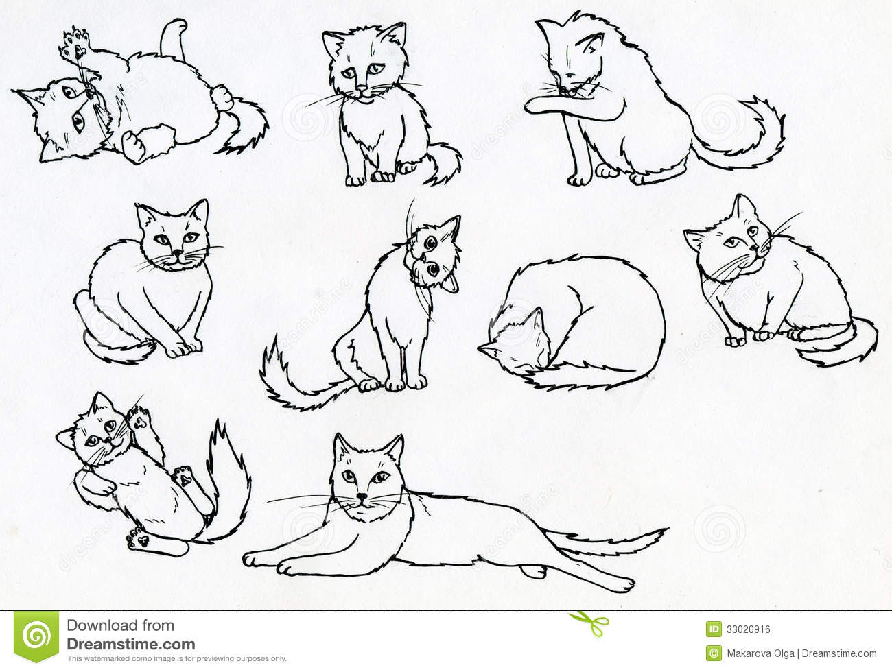 Set Of Ink Drawn Cats Stock Illustration. Illustration Of