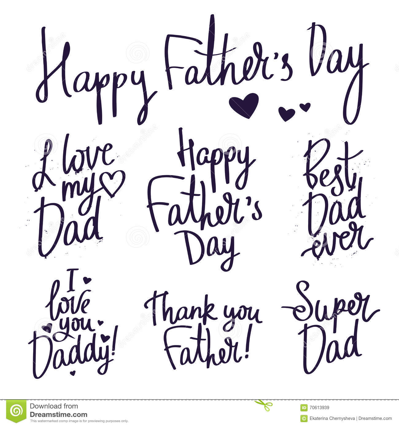 Set inscriptions for father s day fashionable calligraphy
