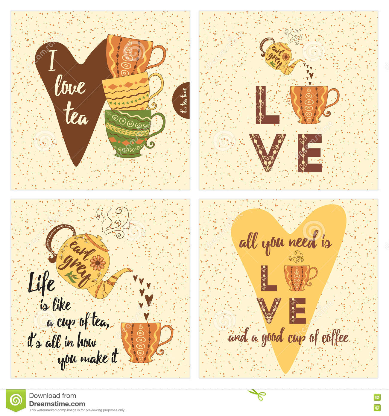 Kitchen Tea Quotes For Cards: Set Of Inspirational Cards With Colorful Tea Or Coffee
