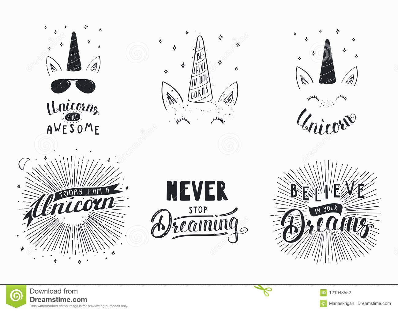 Set Of Inspirational Lettering Quotes Stock Vector Illustration Of