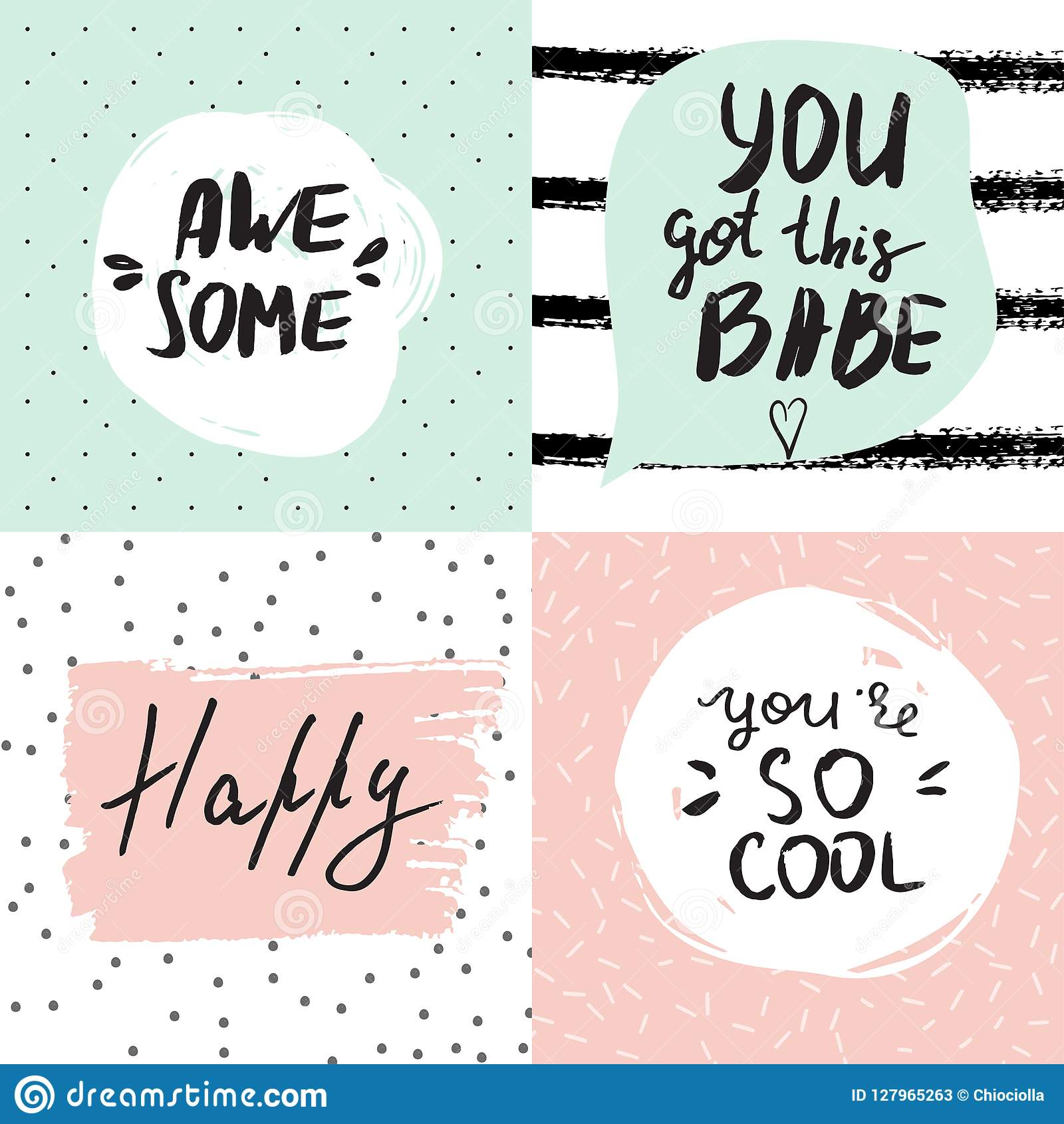 Set Of Inspirational Posters With Hand Lettered Motivational ...