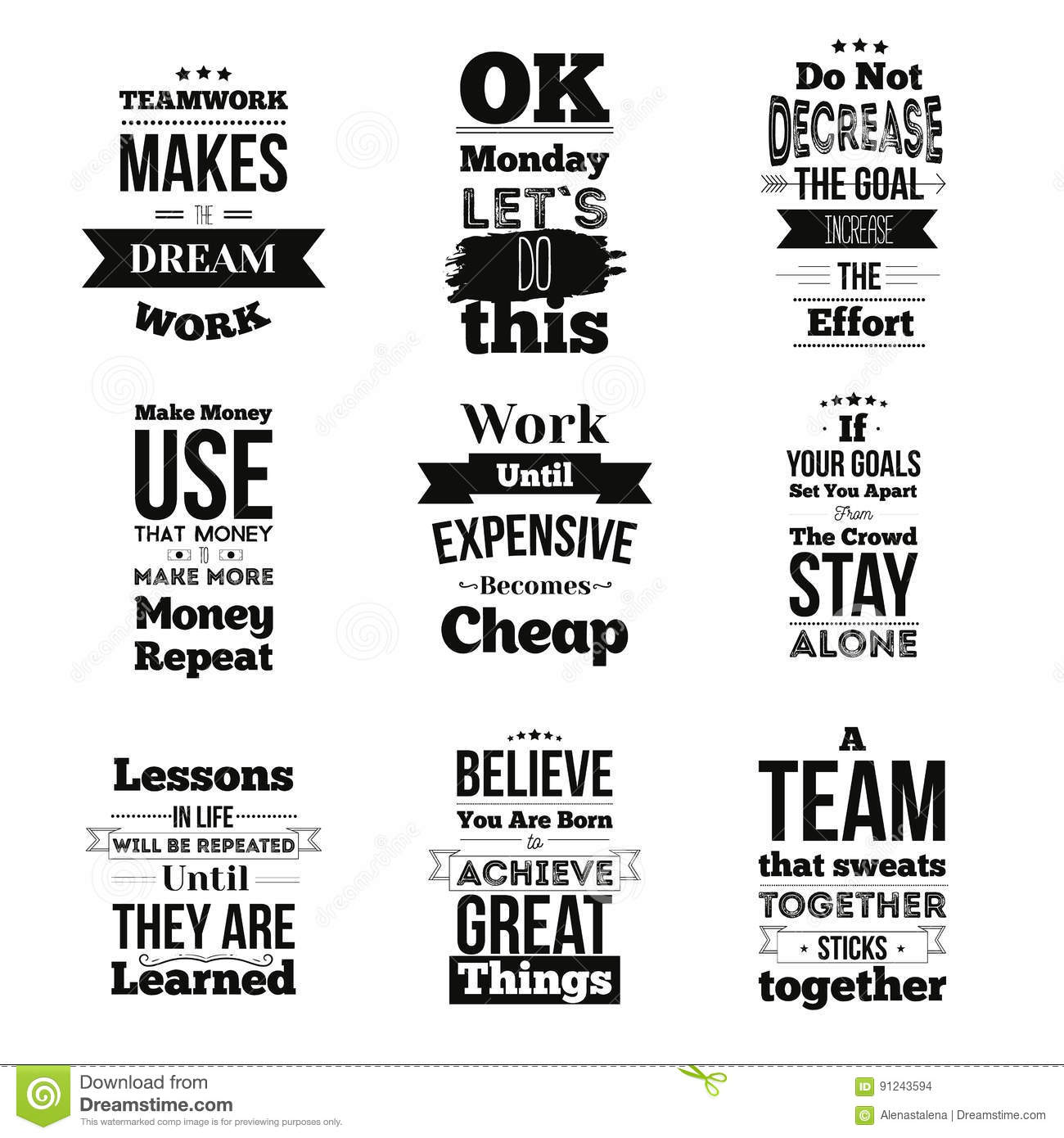 Inspirational Quotes For Work Set Of Inspirational Quotes About Work And Team Vector Design