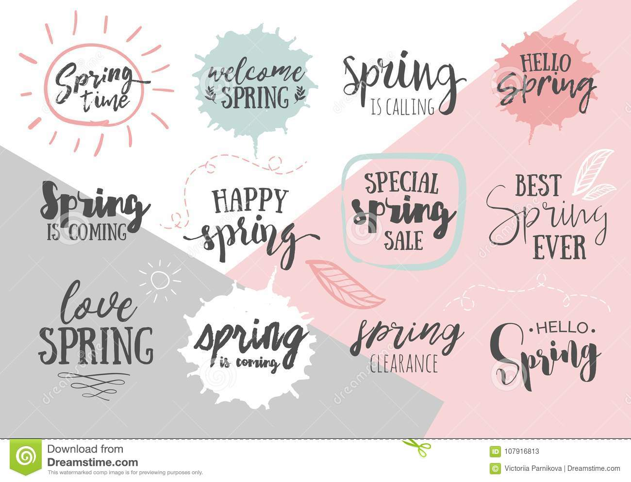 Set Of Inspirational Spring Romantic Handwritten Quotes Good Fo
