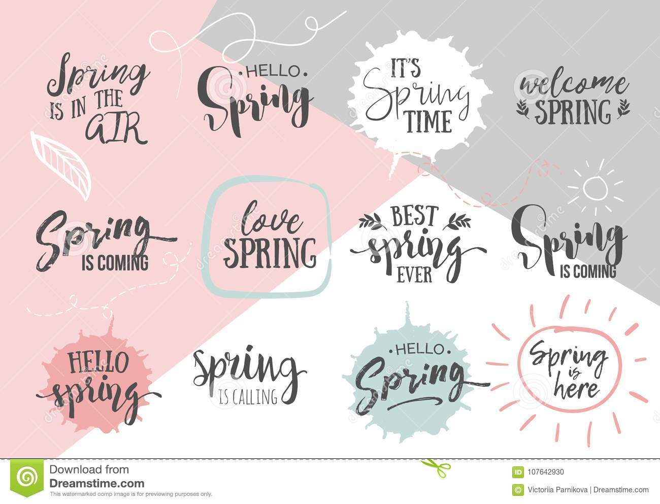 Set Of Inspirational Spring Romantic Handwritten Quotes Good For