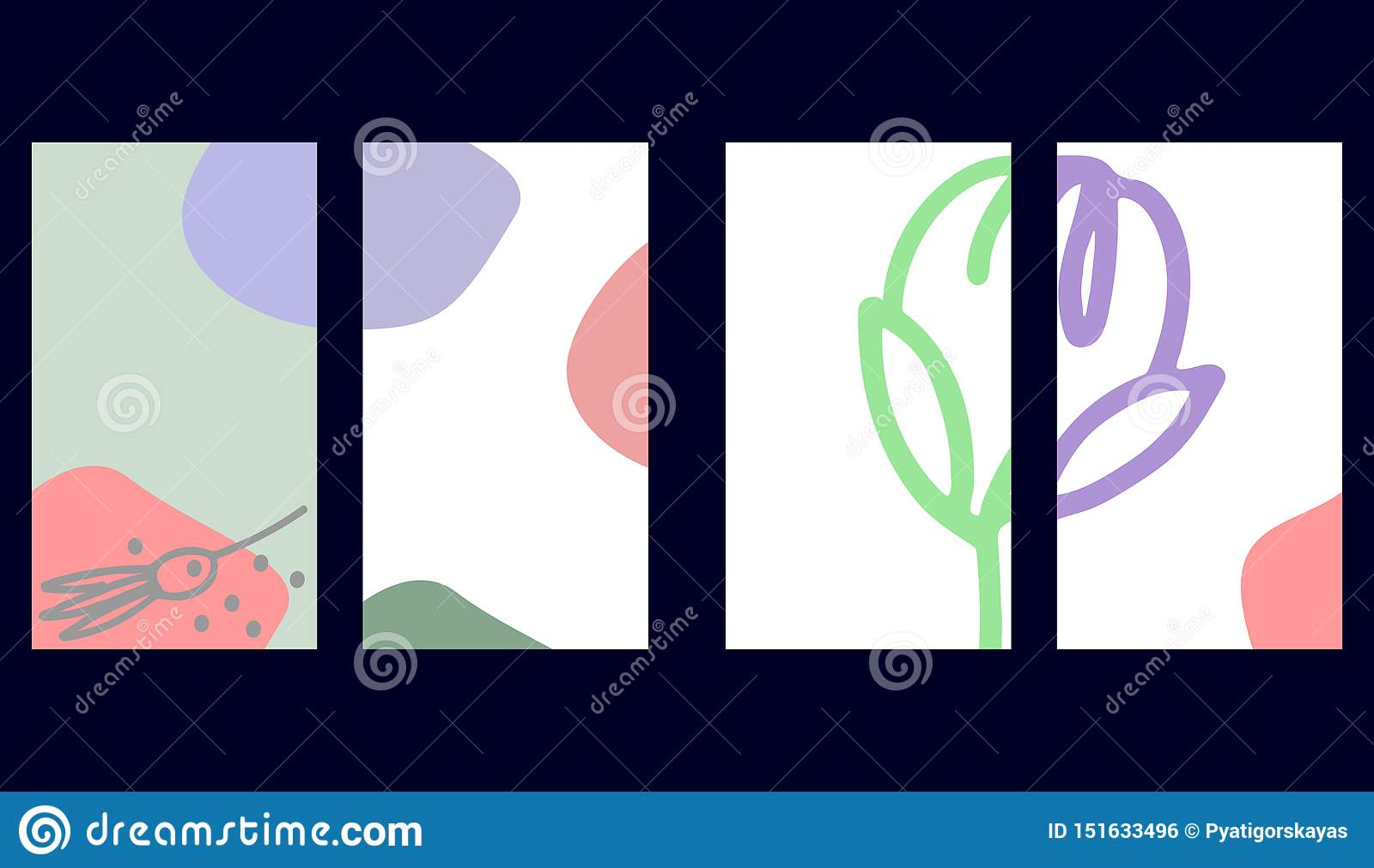 Set of social media stories templates. Floral backgrounds in pastel colors