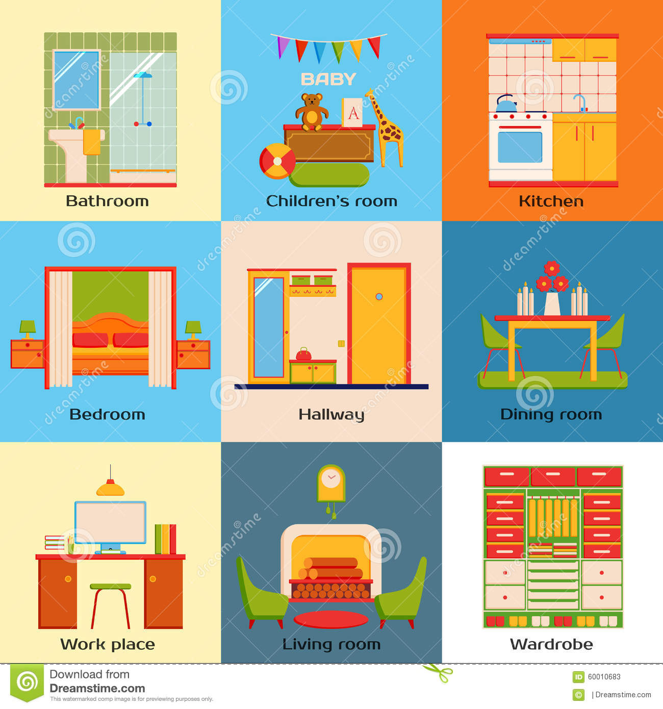 Set Of Interior Design Home Rooms Flat Design Stock Vector Image 60010683