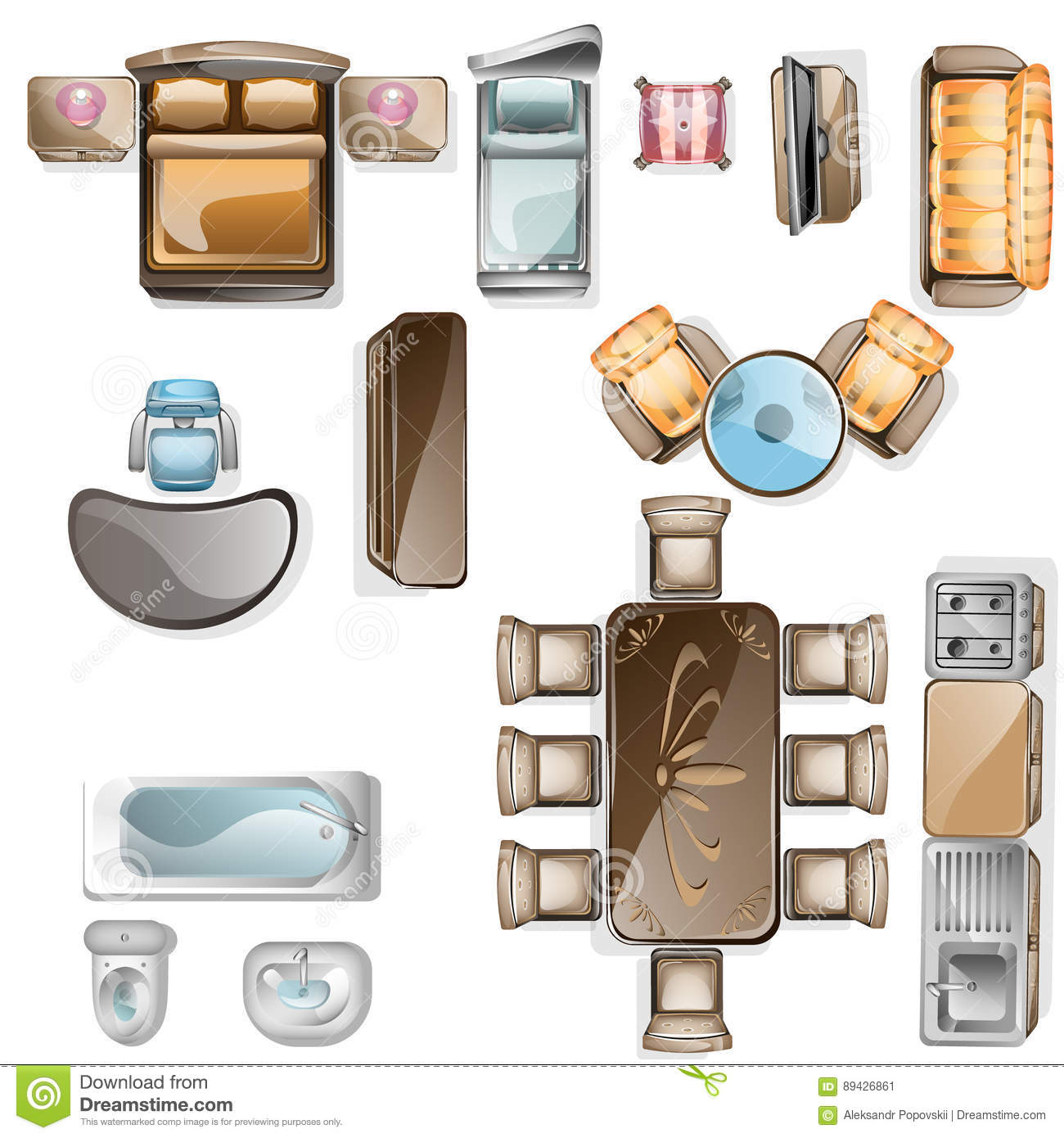 Set Of Interior Top View Stock Vector Illustration Of Flat 89426861