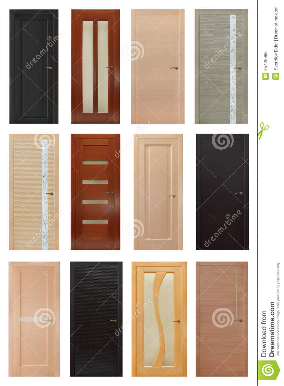 Set of 12 interior wooden doors stock photo image of for Different door designs