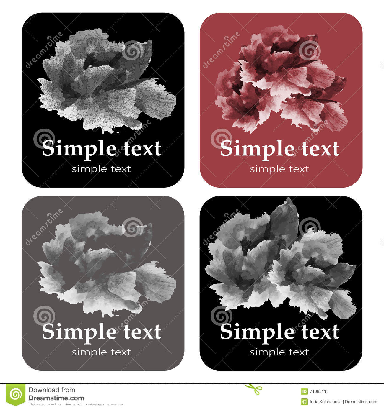 Set Of Invitation Cards With Flowers Stock Vector - Illustration of ...