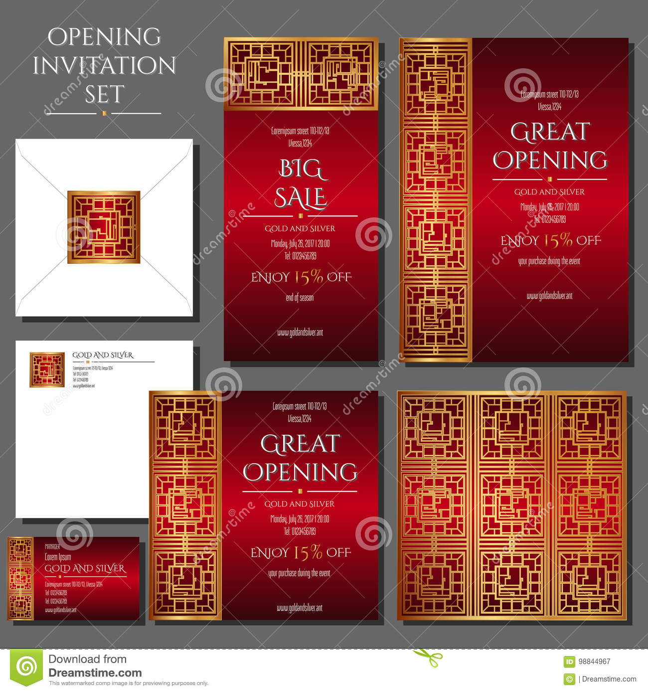 Set Of The Invitation Cards With The Gold Ornament. Store Opening ...