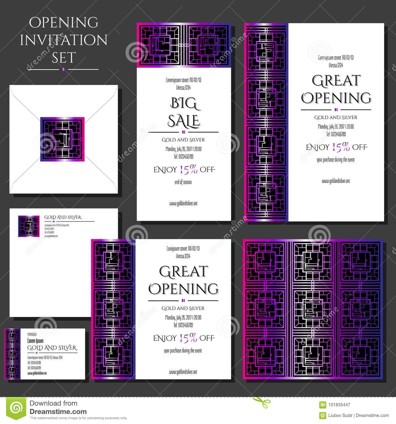 Set Of The Invitation Cards With The Pink Ornament Store Opening