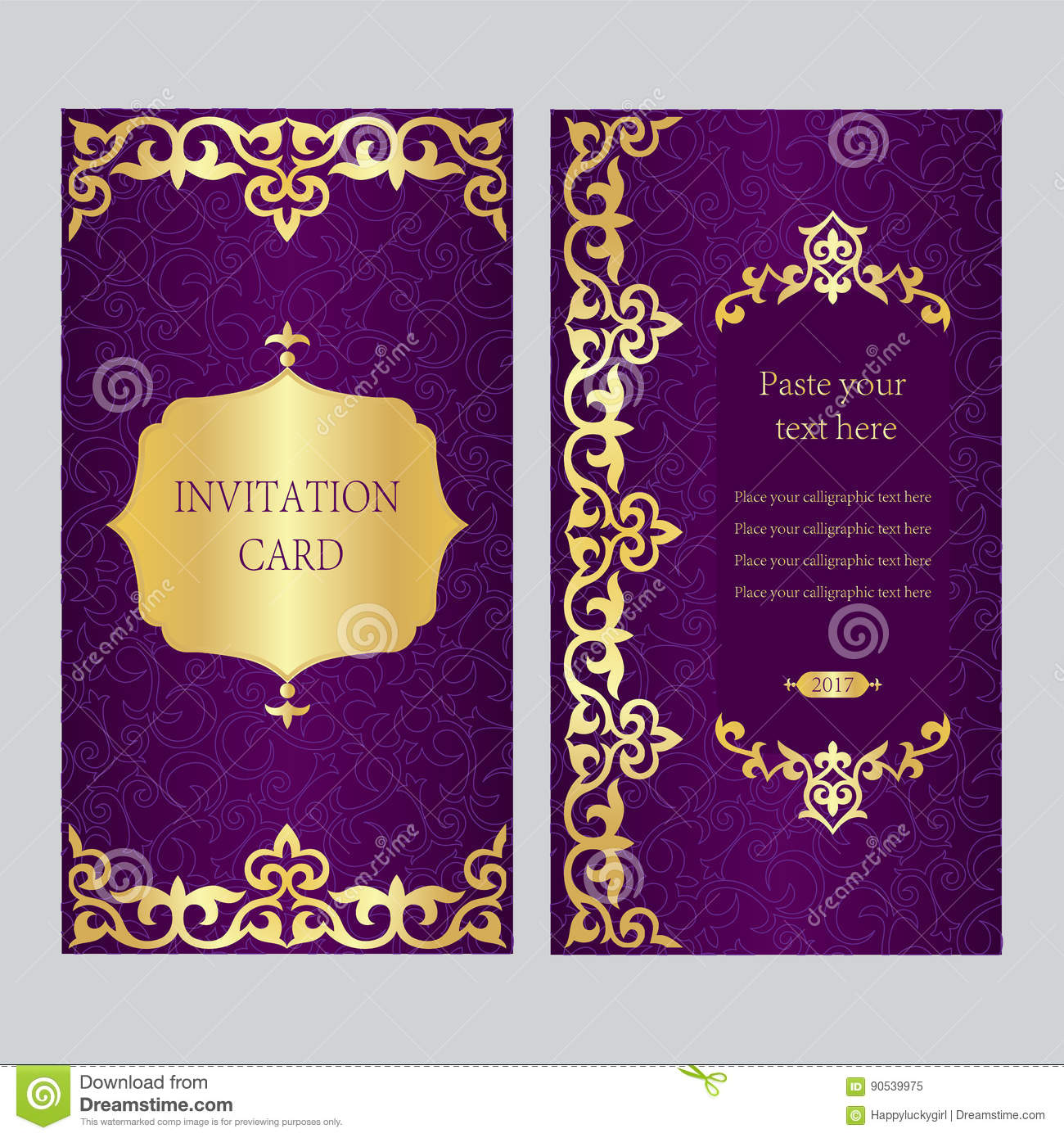 A Set Of Invitation Cards Purple Background With Gold Asian