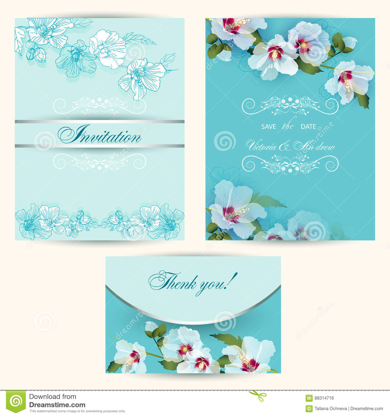 Set Of Invitation Cards In Turquoise Stock Vector