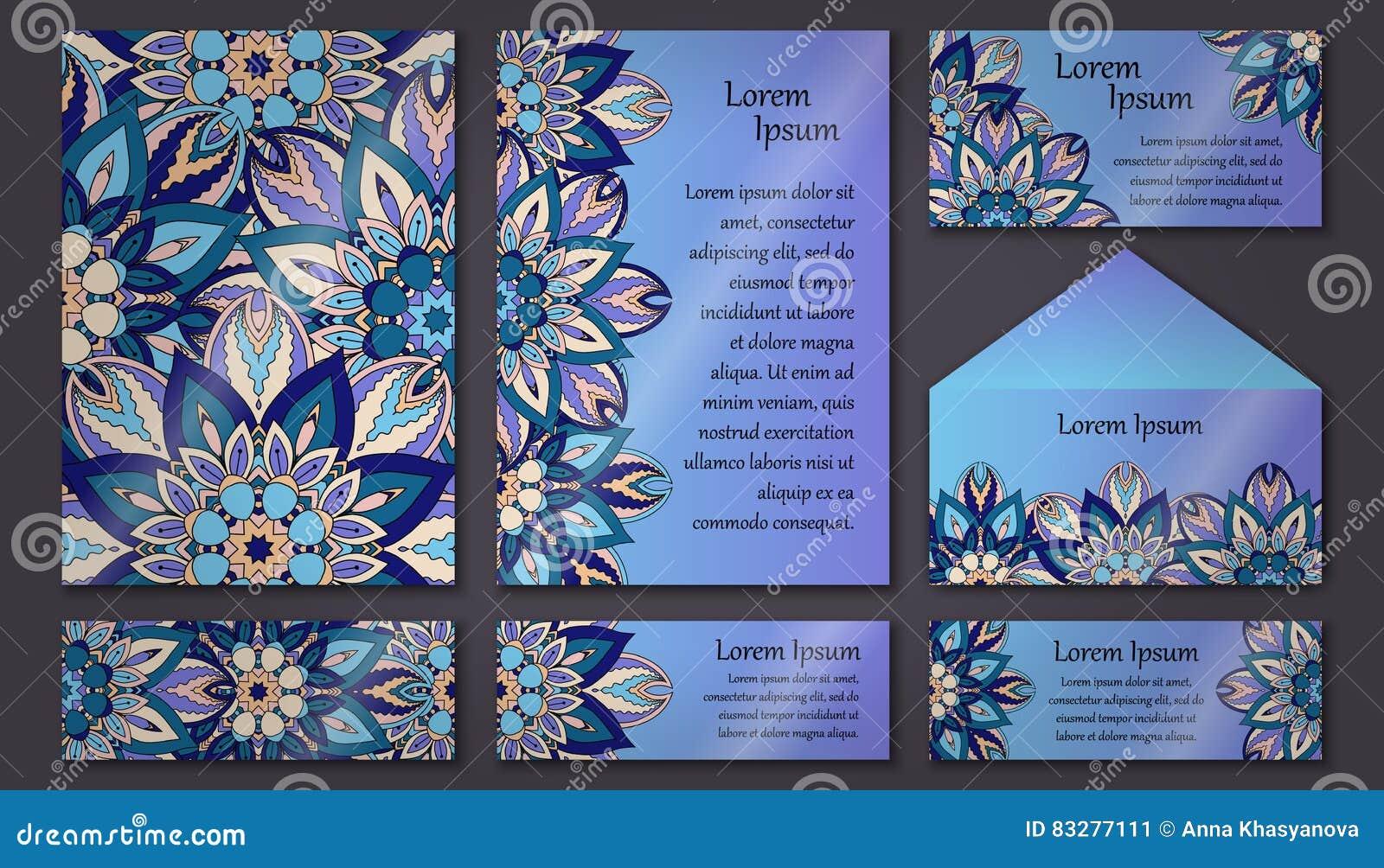 Set Of Invitation Templates With Colorful Tribal Mandalas. Ethnic ...
