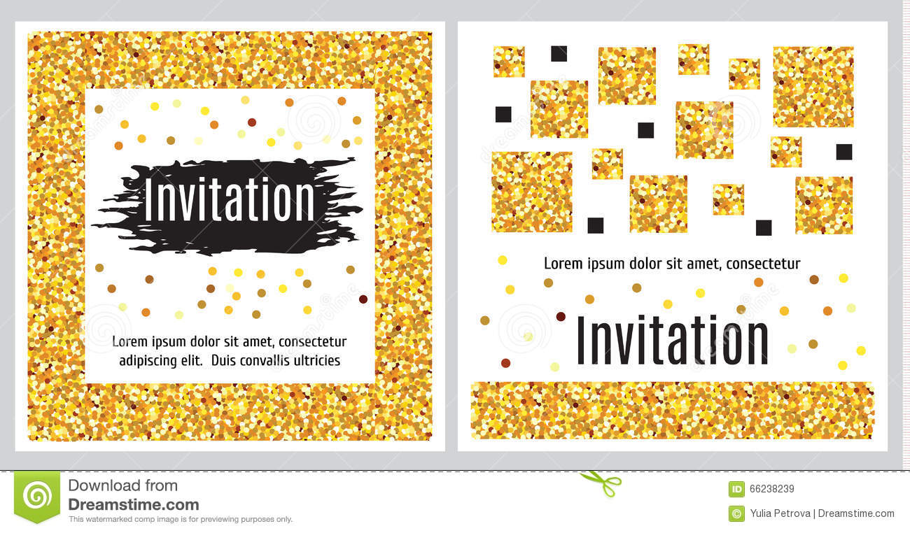 Set Of Invitation Templates With