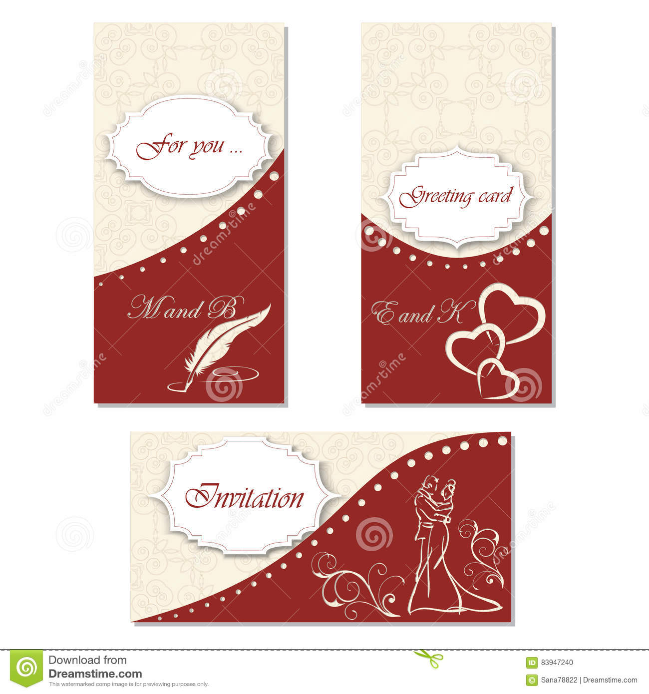 Set Invitation To A Celebration. Stylish Design For Your Holiday ...