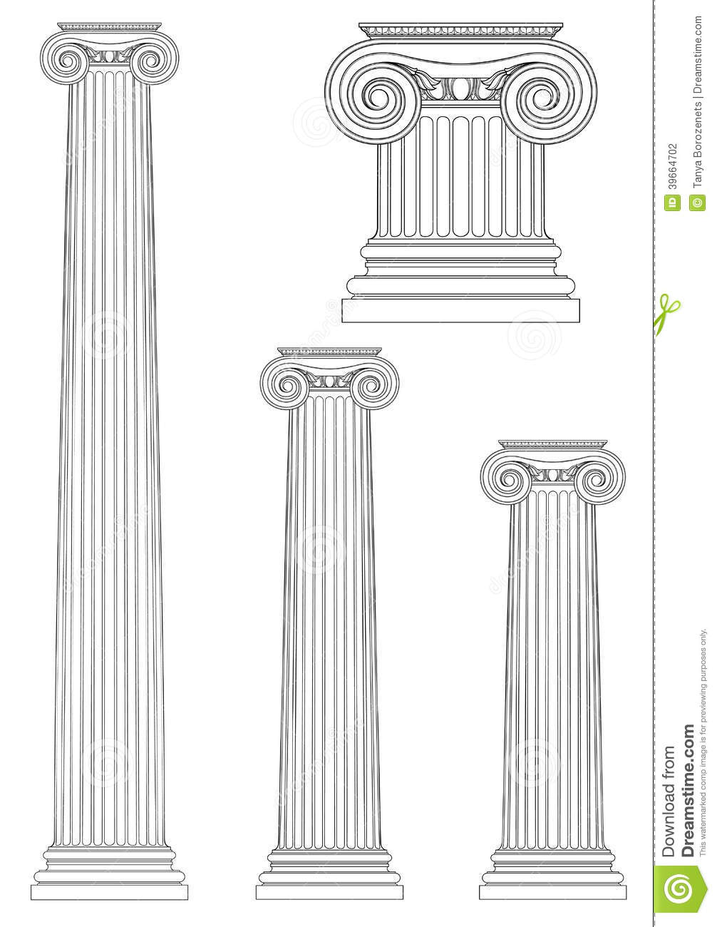 Set Of Ionic Column Vector Drawing Stock Vector Image