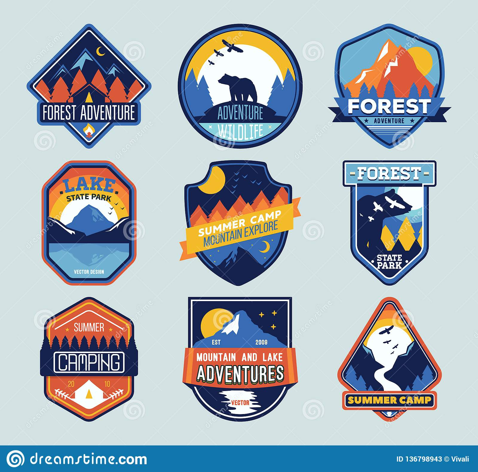Set Of Isolated Badges With Mountain Peaks And Forest Camp