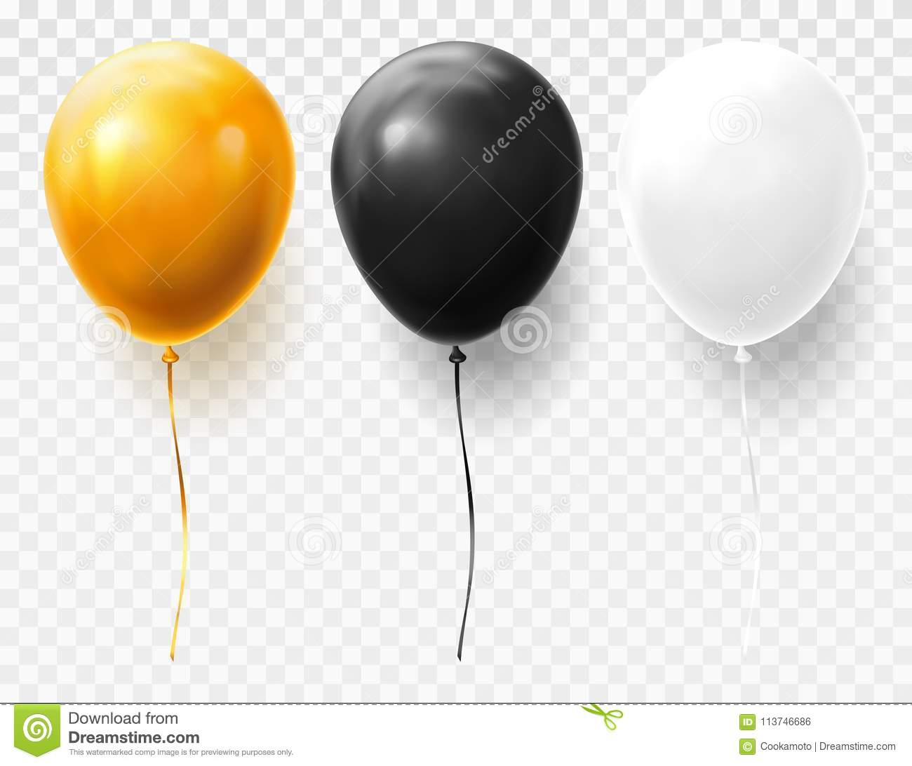 Realistic and volumetric balloons on transparent