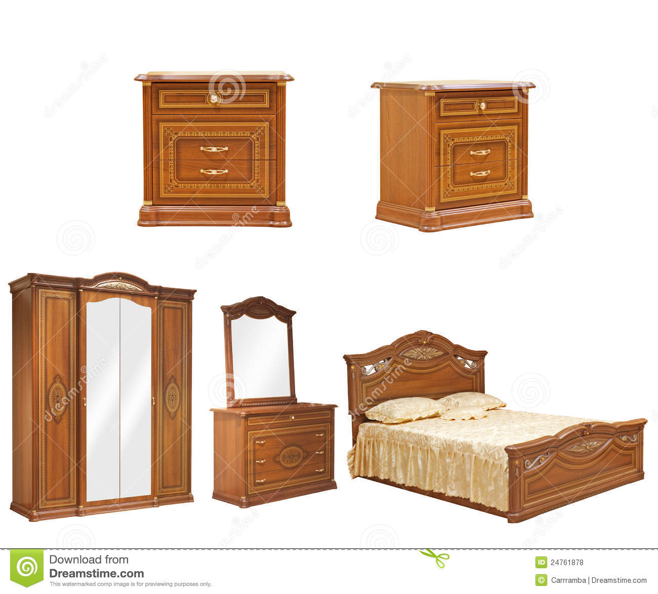 set of isolated bedroom furniture royalty free stock photos image