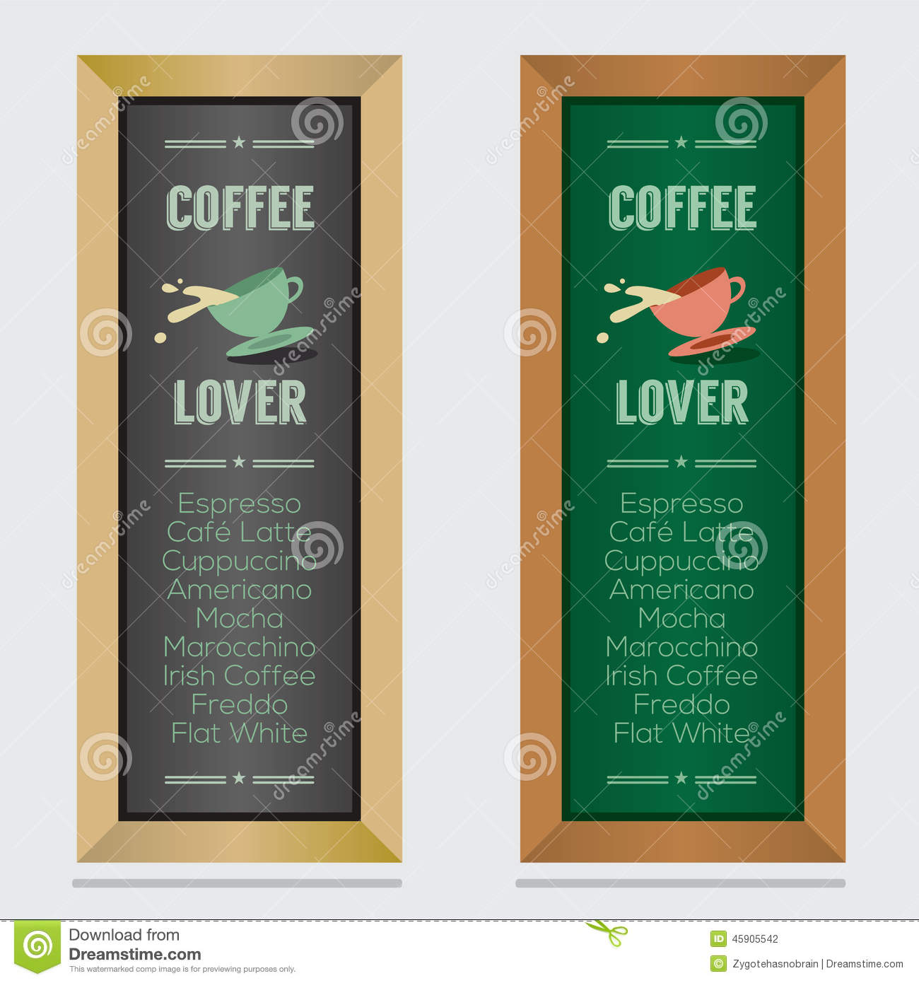 Set Of Isolated Coffee Menu Board Stock Vector - Image: 45905542